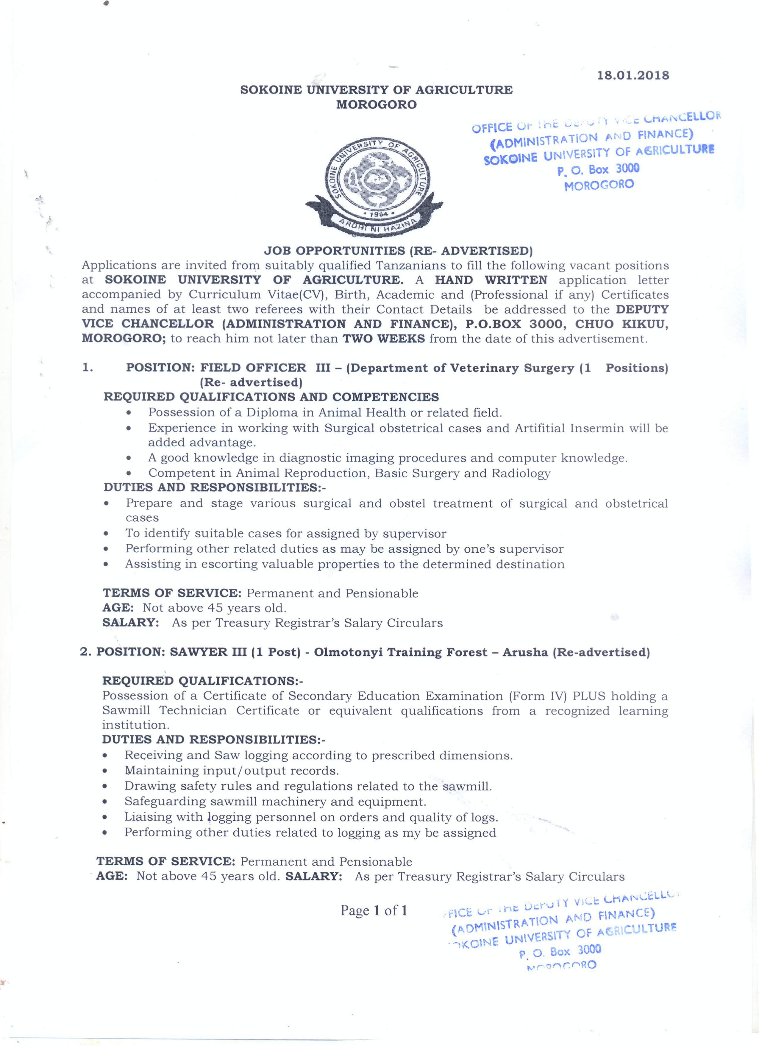2 Job Opportunities: Field Officer III & Sawyer III,Sokoine University of Agriculture, Tanzania.