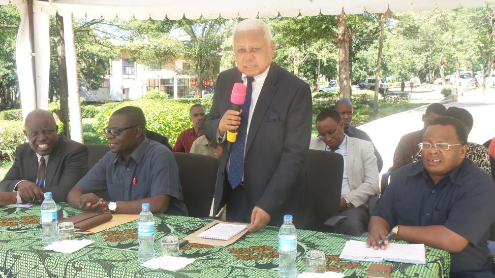 Chairman of the Council Hon. Othman Chande talk to members of staff and students of Sokoine University of Agriculture