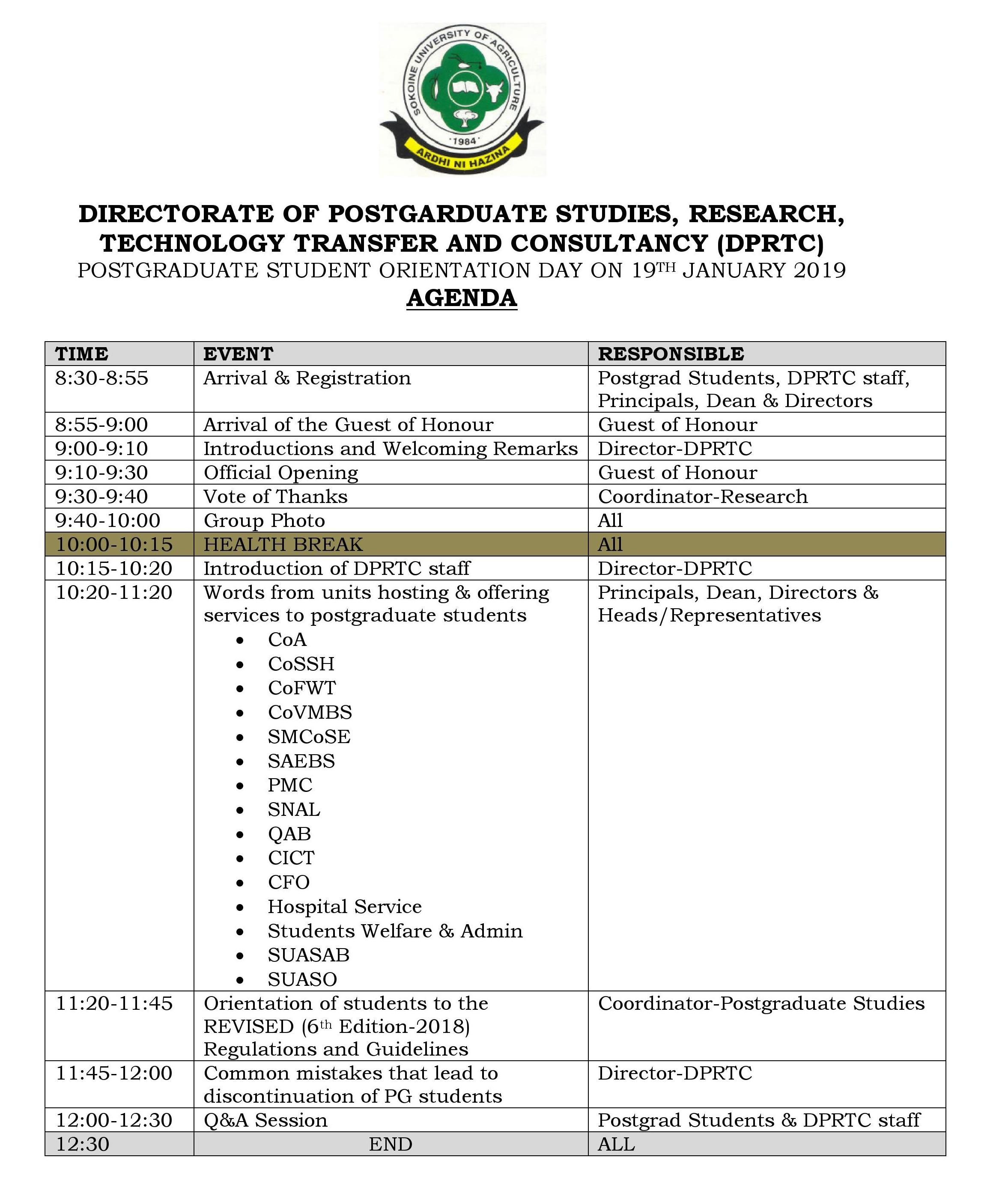 POSTGRADUATE STUDENT ORIENTATION DAY ON 19TH JANUARY 2019