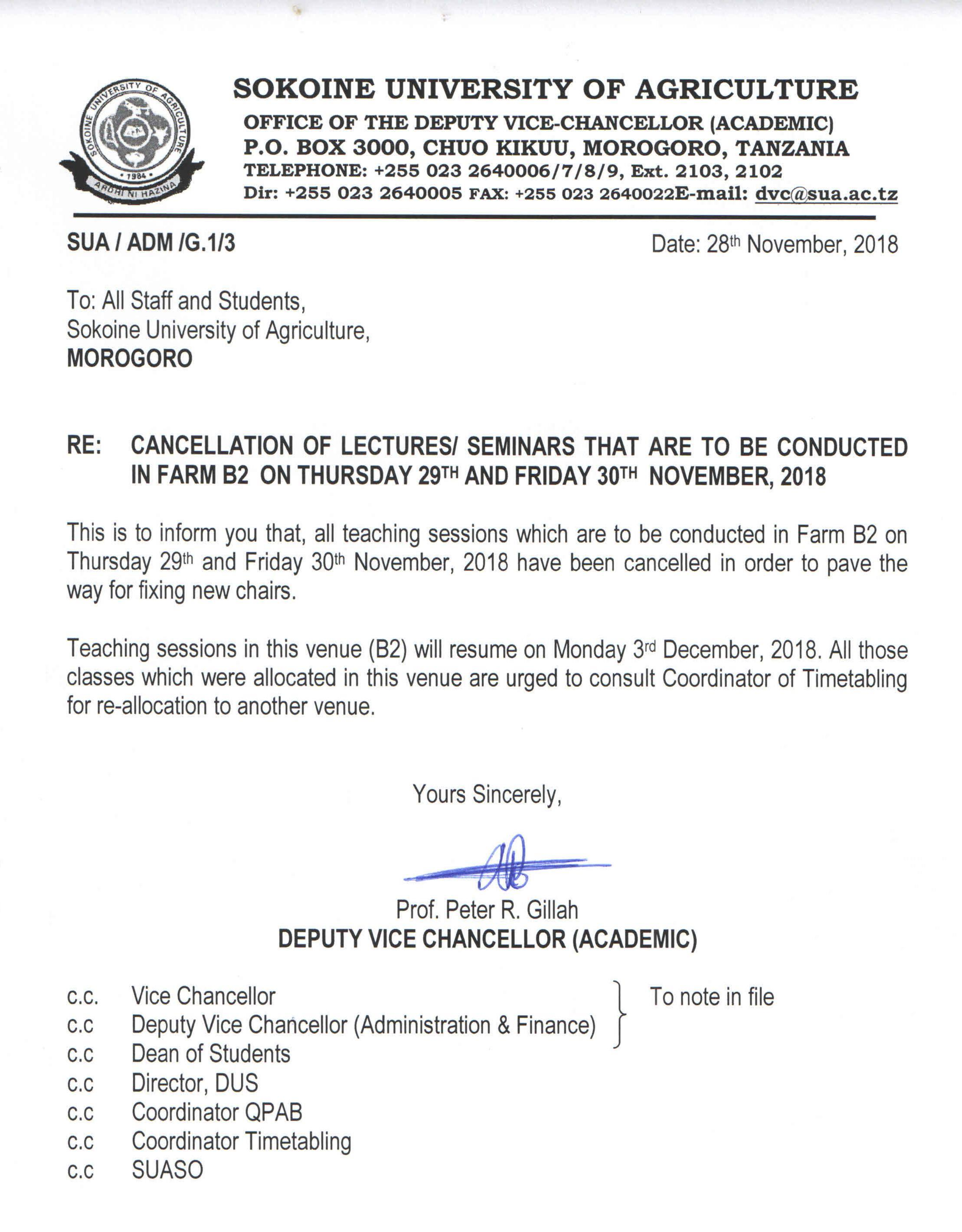 CANCELLATION OF LECTURES/SEMINARS THAT ARE TO BE CONDUCTED IN FARM B2