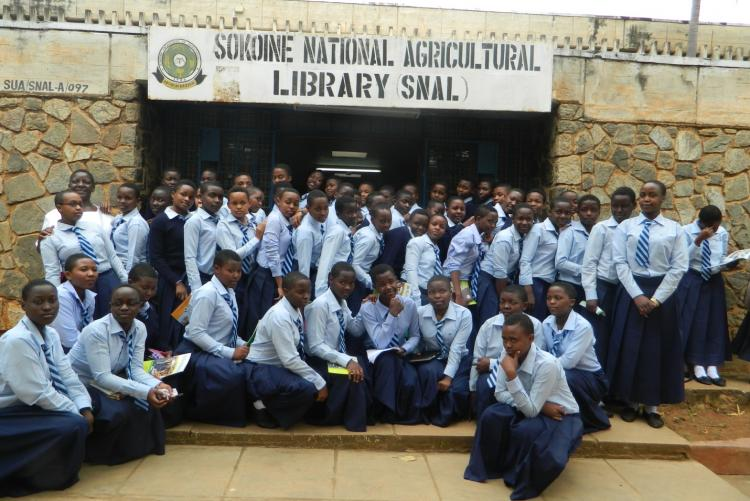 A group of Students from Harrison Uwatta girls Secondary front of Sokoine National Agricultural Library (SNAL) when visited at SUA on October 2016.