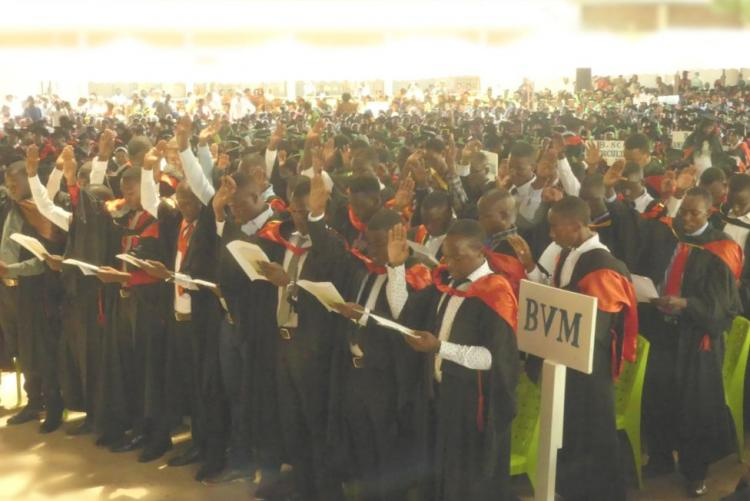 Bachelor of Veterinary Medicine (BVM) Graduands taking an Oath of Allegiace to Conform to a Veterinary Professional standard of conduct