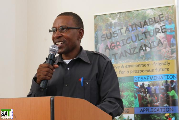 Prof. Fredrick Cassian Kahimba  at the 4th Workshop for Participatory Research Design (WPRD) was held in collaboration with Sokoine University of Agriculture (SUA)  and Sustainable Agriculture Tanzania (SAT) on December 02nd , 2017 at the SUA  Main Campus.
