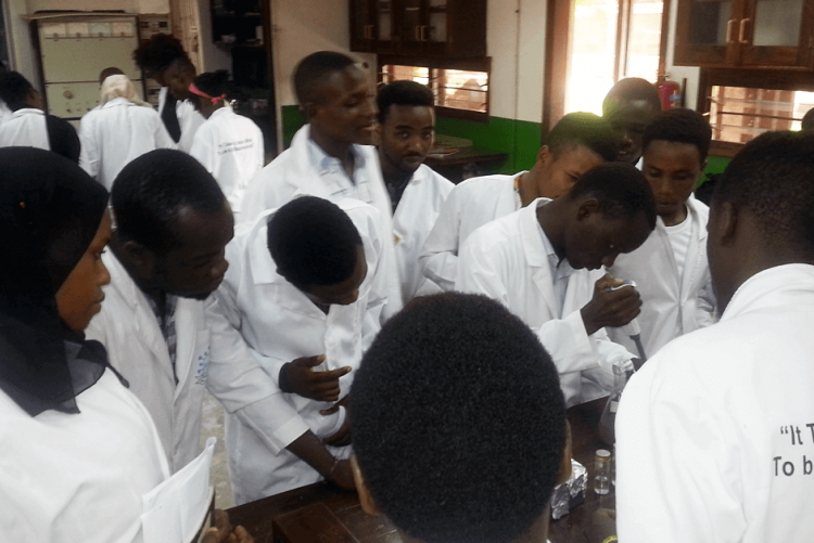 Students from the Biotechnology and Laboratory Sciences program doing soil microbiology practicals at SUA