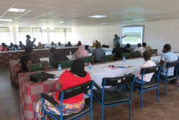 Fish farming short course participants during training session at ICE